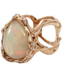 Lucifer Vir Honestus - Opal And Diamond Organic Ring - Lyst