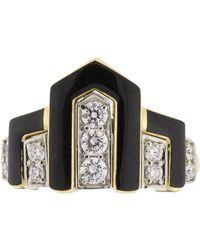 David Webb - Black Enamel And Diamond Scape Ring - Lyst