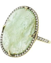 Sylva & Cie - Emerald Oval Slice And Diamond Ring - Lyst