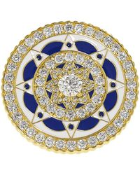 Buddha Mama - Navy And White Enamel Diamond Coin Ring - Lyst