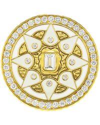 Buddha Mama - White Enamel And Diamond Coin Ring - Lyst