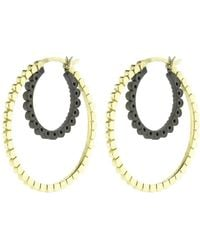 Nancy Newberg - Double Daisy Gold And Silver Hoops - Lyst