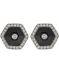 Fred Leighton - Black Jade And Diamond Halo Hexagonal Stud Earrings - Lyst