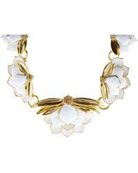 Oscar de la Renta - Painted Wild Lotus Necklace - Lyst