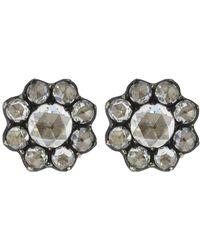Fred Leighton - Rose Cut Diamond Petite Cluster Stud Earrings - Lyst