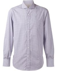 Brunello Cucinelli - Spread Collar Stripe Shirt - Lyst