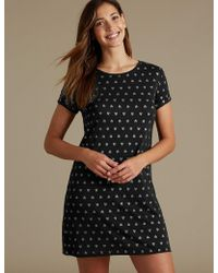 Marks & Spencer - Glitter Heart Print Short Nightdress - Lyst