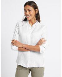 Marks & Spencer - Pure Linen Long Sleeve Shirt - Lyst