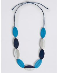Marks & Spencer - Flat Oval Stripe Cord Necklace - Lyst