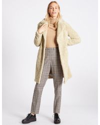 Marks & Spencer - Textured Faux Fur Coat - Lyst