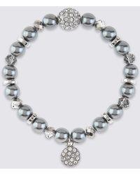 Marks & Spencer | Pearl Effect & Diamanté Charm Stretch Bracelet | Lyst