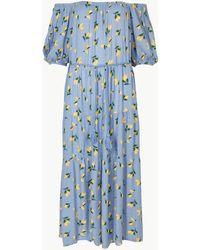 Marks & Spencer - Lemon Print Waisted Midi Dress - Lyst