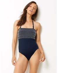 b14728c8153 Marks   Spencer - Secret Slimmingtm Non-wired Bandeau Swimsuit - Lyst