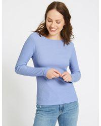 Marks & Spencer   Cotton Blend Slash Neck Long Sleeve T-shirt   Lyst