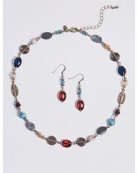 Marks & Spencer - Lustrous Bead Necklace & Earrings Set - Lyst