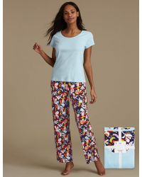 Marks & Spencer - Pure Cotton Floral Print Short Sleeve Pyjamas - Lyst