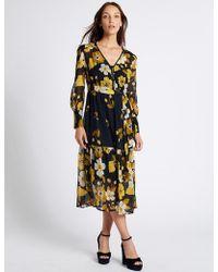 Marks & Spencer - Floral Print Long Sleeve Midi Dress - Lyst