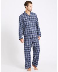 Marks & Spencer - Big & Ta Pure Bruhed Cotton Pyjaa Et - Lyst