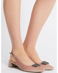 Marks & Spencer - Block Heel Jewel Pointed Toe Court Shoes - Lyst