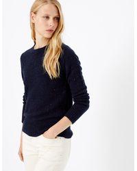 Marks & Spencer - Wool Rich Round Neck Jumper Navy Mix - Lyst