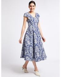 Marks & Spencer - Floral Print Jacquard Prom Dress - Lyst