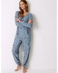 Marks & Spencer - Cotton Rich Llama Print Long Sleeve Onesie - Lyst
