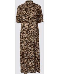 Marks & Spencer - Animal Print Half Sleeve Shift Midi Dress - Lyst