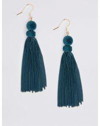 Marks & Spencer - Sleek Velvet Tassel Drop Earrings - Lyst