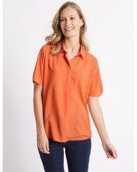 Marks & Spencer - Crepe Half Sleeve Shirt - Lyst