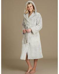 Marks & Spencer - Fleece Hooded Long Sleeve Dressing Gown - Lyst
