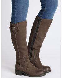 Marks & Spencer - Leather Block Heel Side Zip Knee High Boots - Lyst