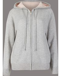 Marks & Spencer - Pure Cashmere Zipped Through Hooded Jumper - Lyst