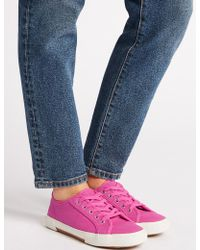 Marks & Spencer - Canvas Lace-up Trainers - Lyst