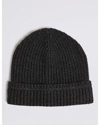 Marks & Spencer - Ribbed Beanie Hat - Lyst
