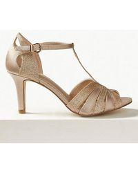 9c8b6af17e9f Marks & Spencer Block Heel Glitter Jewel Slingback Court Shoes in ...