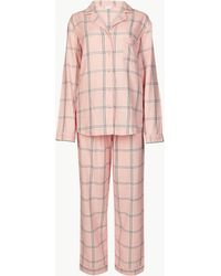 Marks & Spencer - Pure Cotton Checked Long Sleeve Pyjama Set - Lyst