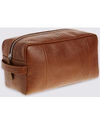 Marks & Spencer - Pebble Grain Leather Washbag - Lyst