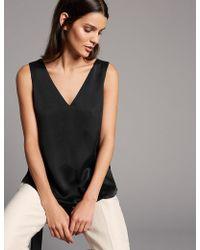 Marks & Spencer - Pure Silk V-neck Sleeveless Blouse - Lyst