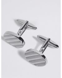 Marks & Spencer | Oval Striped Cufflinks | Lyst
