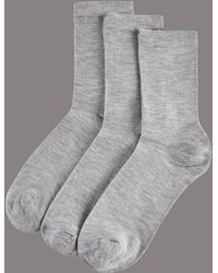 Marks & Spencer - 3 Pair Pack Modal Rich Ankle High Socks - Lyst