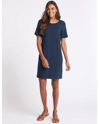 Marks & Spencer - Linen Blend Seam Detail Tunic Dress - Lyst