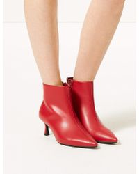 Marks & Spencer - Wide Fit Kitten Heel Ankle Boots - Lyst