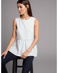 Marks & Spencer - Pure Cotton Peplum Round Neck Blouse - Lyst
