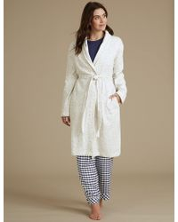 Marks & Spencer - Fleece Textured Dressing Gown - Lyst