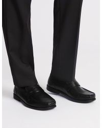 Marks & Spencer - Extra Wide Leather Loafers With Airflextm - Lyst