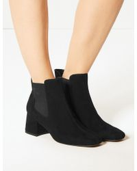 Marks & Spencer - Block Heel Square Toe Chelsea Boots - Lyst