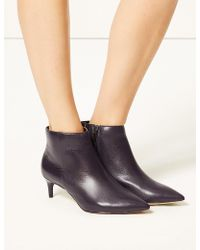 Marks & Spencer - Wide Fit Leather Kitten Heel Ankle Boots - Lyst