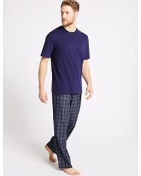 Marks & Spencer - 2in Longer Pure Cotton Checked Pyjama Set - Lyst