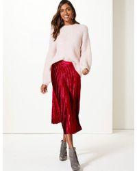 Marks & Spencer - Velvet Pleated Midi Skirt - Lyst