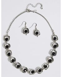 Marks & Spencer - Trapped Bred Shape Necklace & Earring Set - Lyst